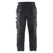 Pantalon + stretch noir/rouge avec poches flottantes