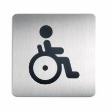 Pictogramme carré acier brossé inoxydable . WC Handicapés